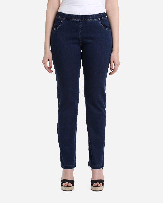 PREMIUM COTTON LYCRA STRAIGHT CUT JEANS WITH NO ZIPPER AND ELASTIC WAIST BAND FOR EXTRA COMFORT