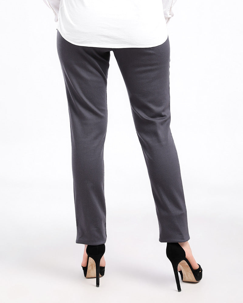 BASIC GABARDINE STRAIGHT CUT PANTS WITH ZIPPER