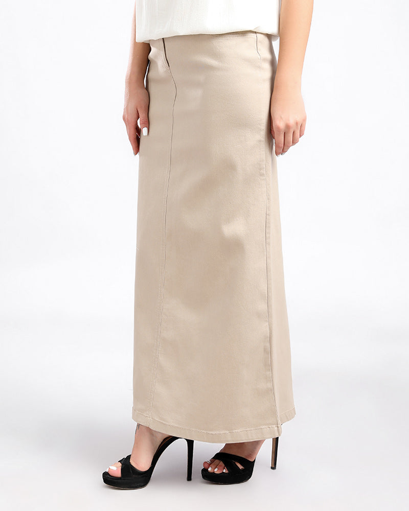 GABARDINE SKIRT  MADE FROM FINE COTTON AND ELASTIN WITH AN ELASTIC WAIST FOR EXTRA COMFORT