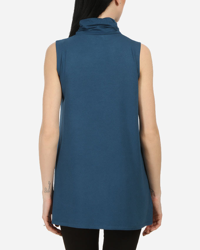 LONG TOP WITH PLEATED HALF NECK