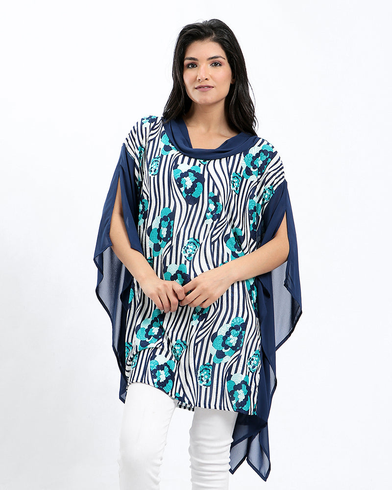 FREE SIZE: FLORAL PRINTED PONCHO WITH SILKY CHIFFON ON THE SIDE