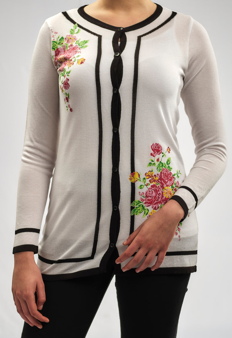 KNITWEAR JACKET WITH A PASTEL FLORAL ROSE PRINT