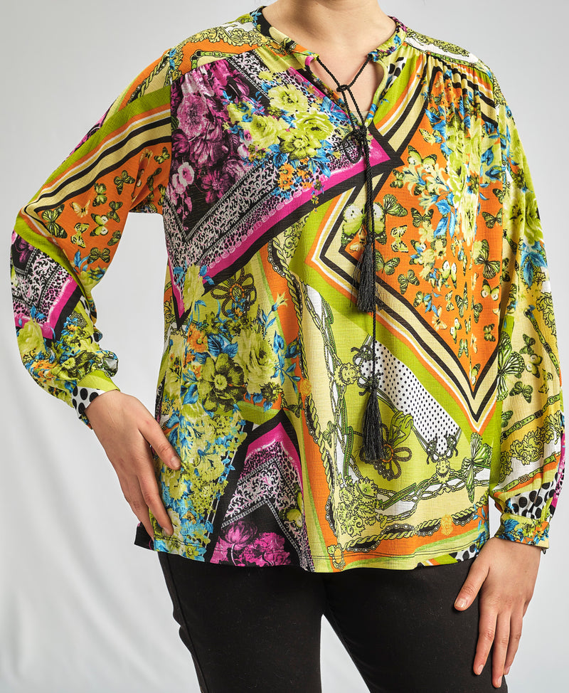 ABSTRACT MULTI COLORED BLOUSE
