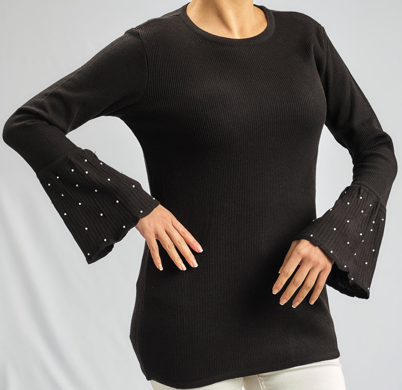 KNITWEAR BLOUSE WITH SILKY CHIFFON FLOWY CUFFS AND SILVER STUDS