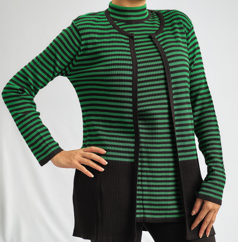 EMERALD GREEN STRIPPED  KNITWEAR TWINSET JACKET WITH MATCHING TOP