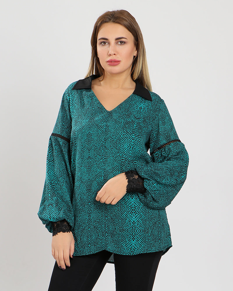 ANIMAL PRINT SILKY CREPE CHIFFON BLOUSE WITH PUFF SLEEVES