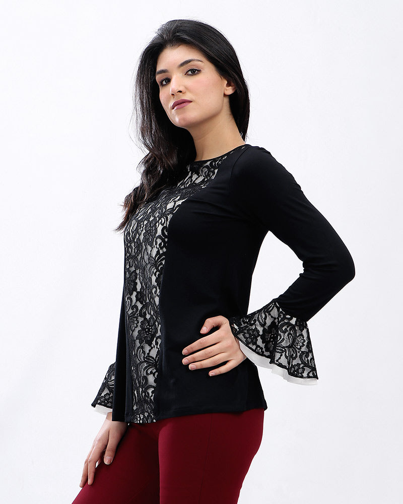 MODAL BLOUSE WITH FRONT LACE AND BELL SHAPE SLEEVES LACE DETAIL