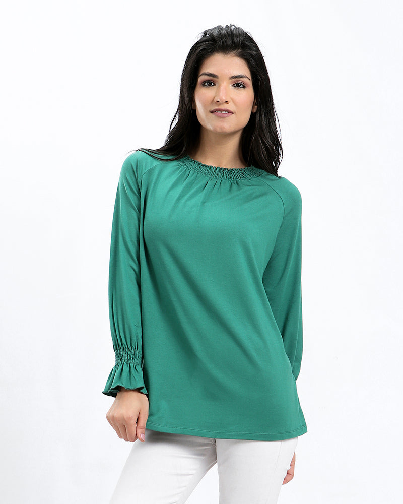 BASIC MODAL BLOUSE WITH RUFFLED CUFFS