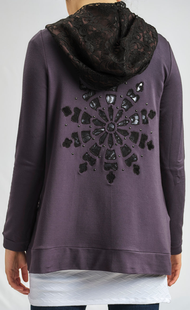COTTON MILTON JACKET WITH SNOW FLAKE SEQUINS AND LACE HOODIE