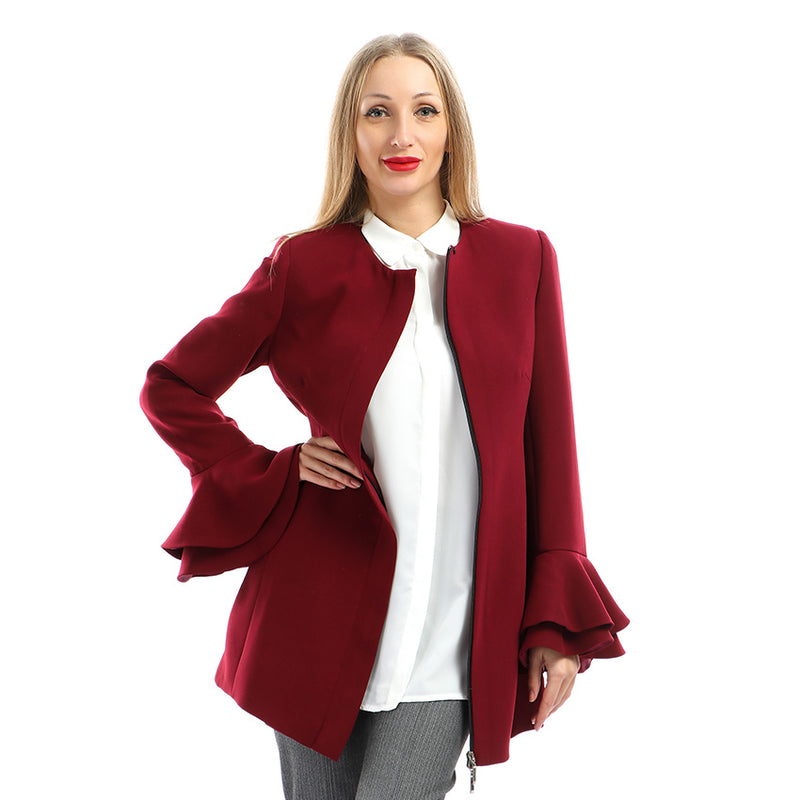 TAILLURE CREPE JACKET WITH RUFFLES ON CUFFS