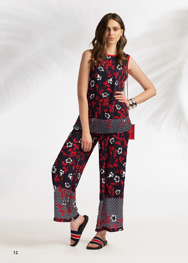 LIMITED EDITION: DARK NAVY CREPE CHIFFON PRINTED PANTS WITH ELASTIC WAIST FOR EXTRA COMFORT