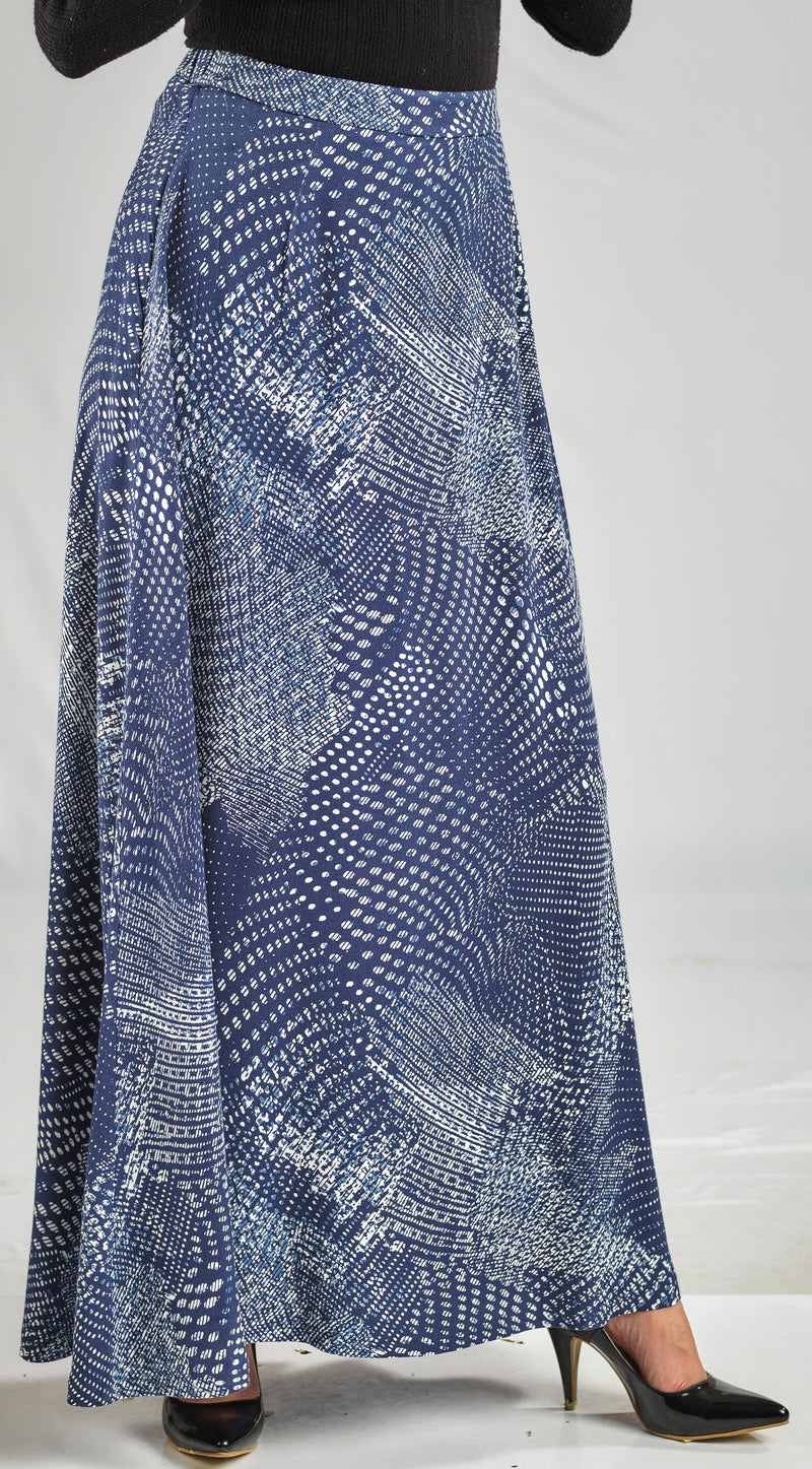 SILKY RAYON SKIRT WITH JEANS GEOMETRIC PRINT WITH ELASTIC WAIST FOR EXTRA COMFORT