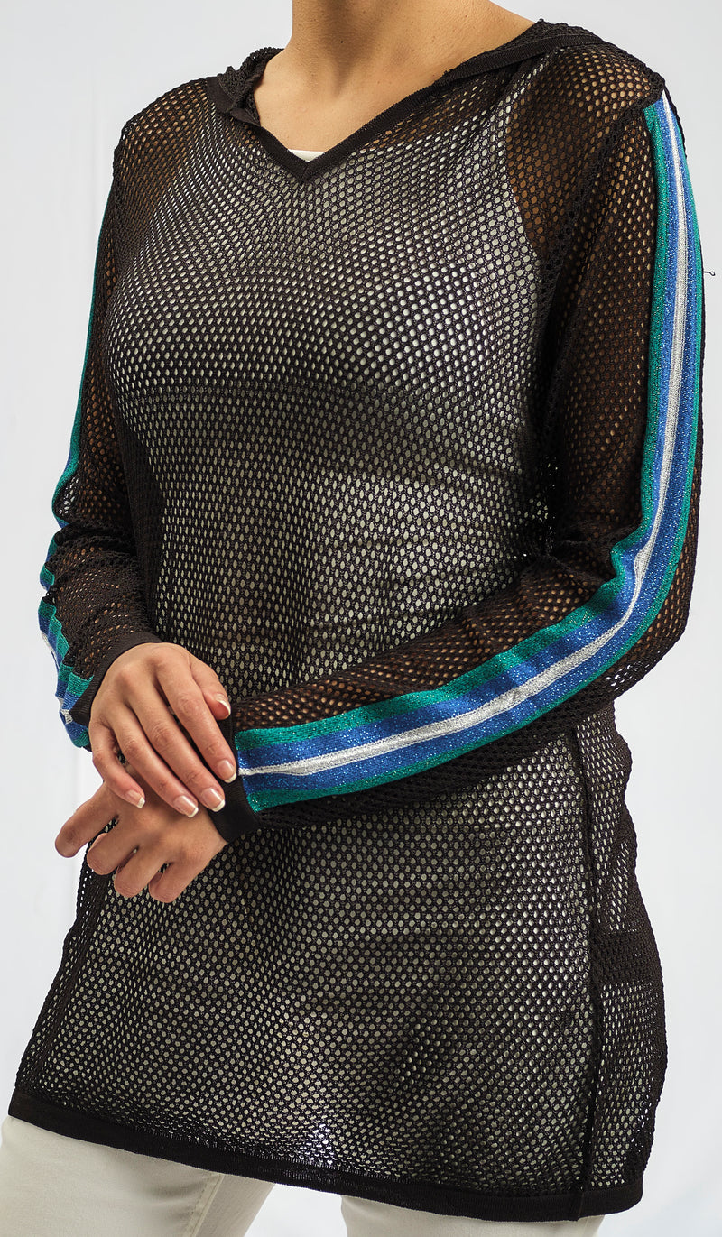 KNITWEAR AJOUR BLOUSE WITH STRIPE DETAIL ON ARMS