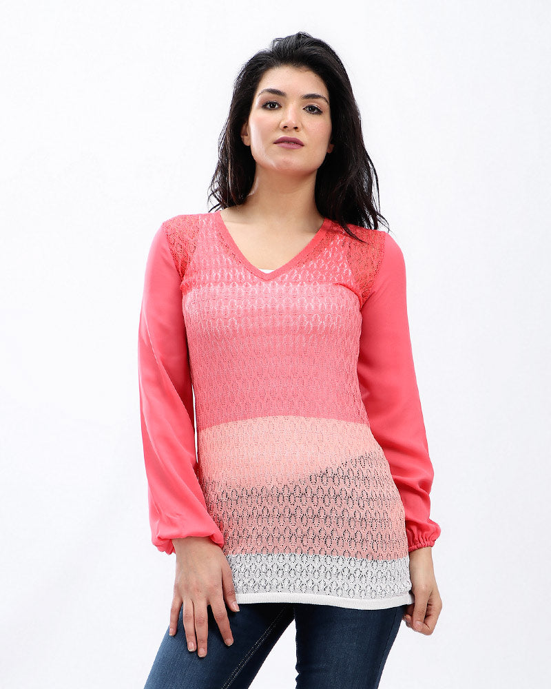 KNITWEAR AJOUR STRIPPED BLOUSE IN SHADES OF PINK