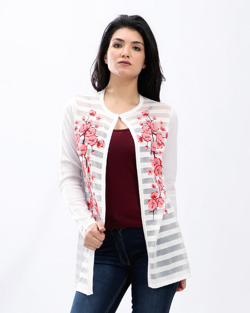 KNITWEAR  JACKET WITH CHERRY BLOSSOM FLORAL PRINT
