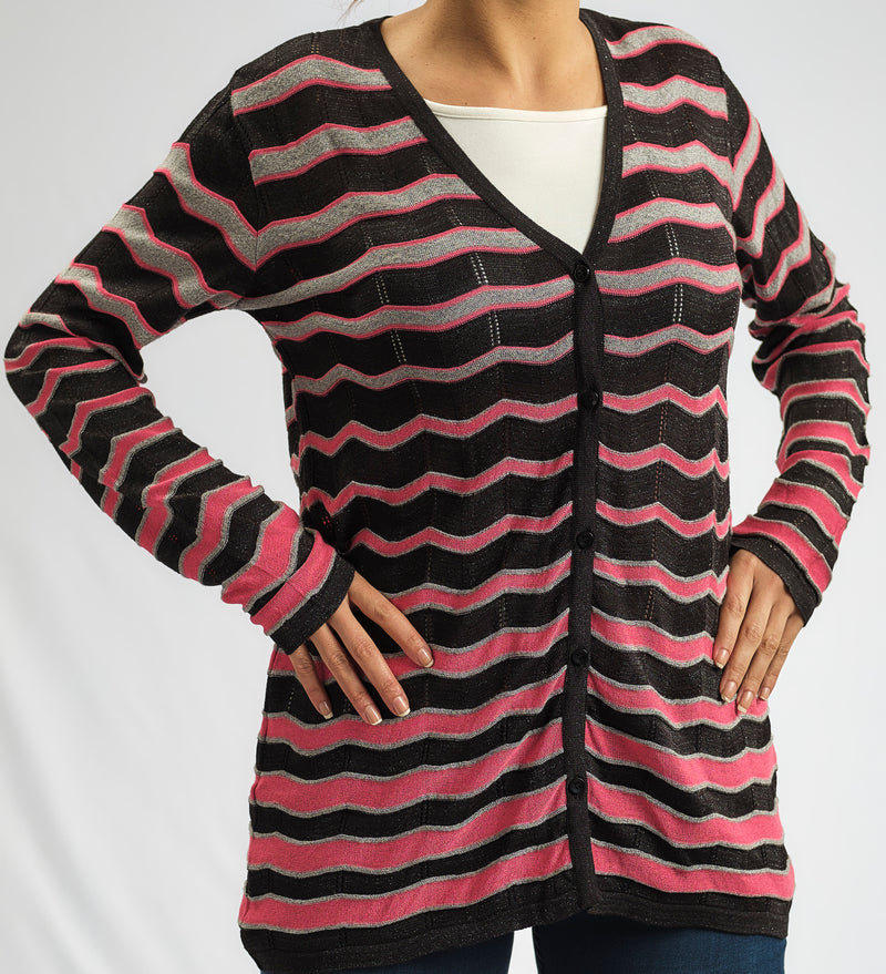 KNITWEAR TWINSET JACKET IN SHADES OF PINK  WITH MATCHING JACKET