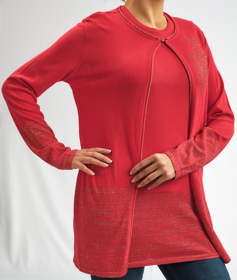 BASIC KNITWEAR TWINSET JACKET WITH ROLL EDGE AND MATCHING TOP