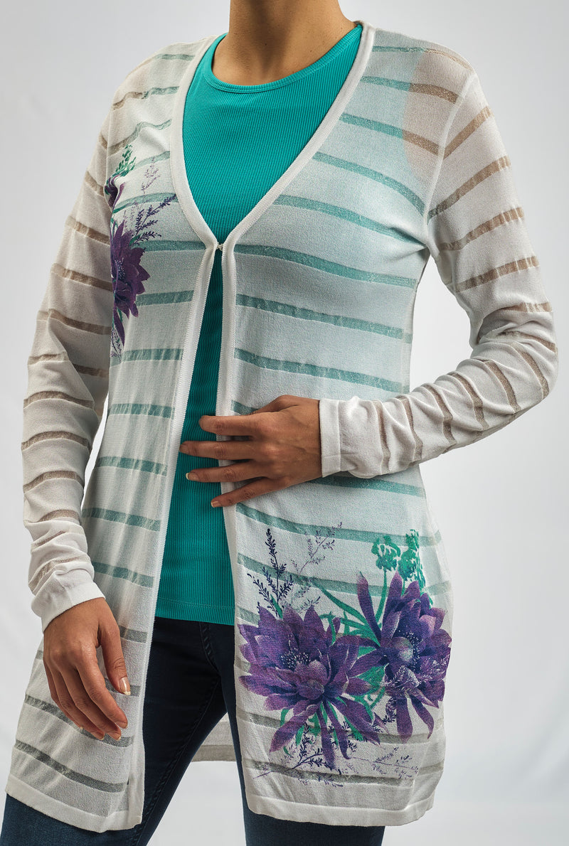 KNITWEAR  JACKET WITH DEEP PURPLE AND EMERALD FLORAL PRINT