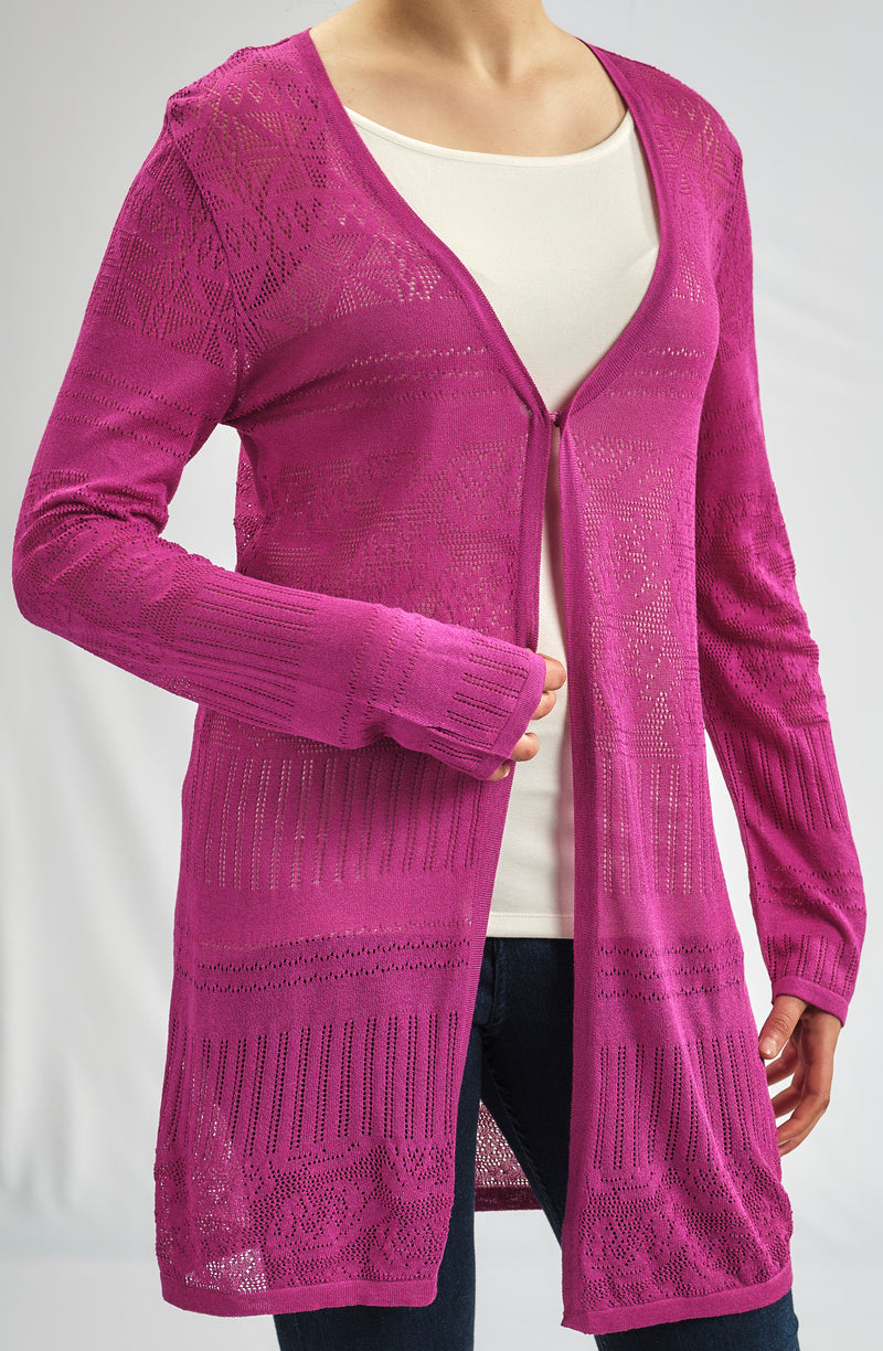 BASIC KNITWEAR GRAPE LONG JACKET