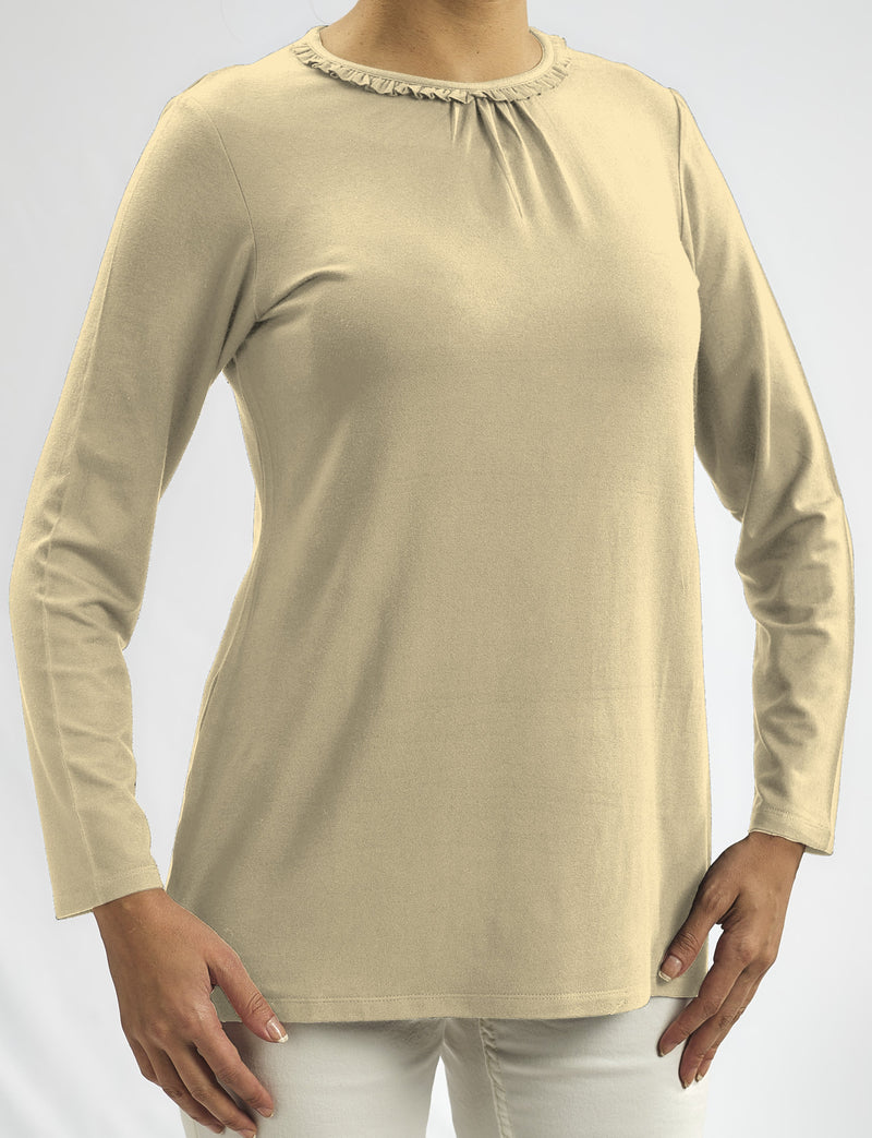 100% NATURAL MODAL BLOUSE WITH SMALL PLEATS AND RUFFLES AROUND THE NECKLINE