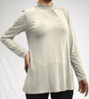 100% NATURAL MODAL ELIZABETH COLLAR BLOUSE WITH SMALL PLEATS