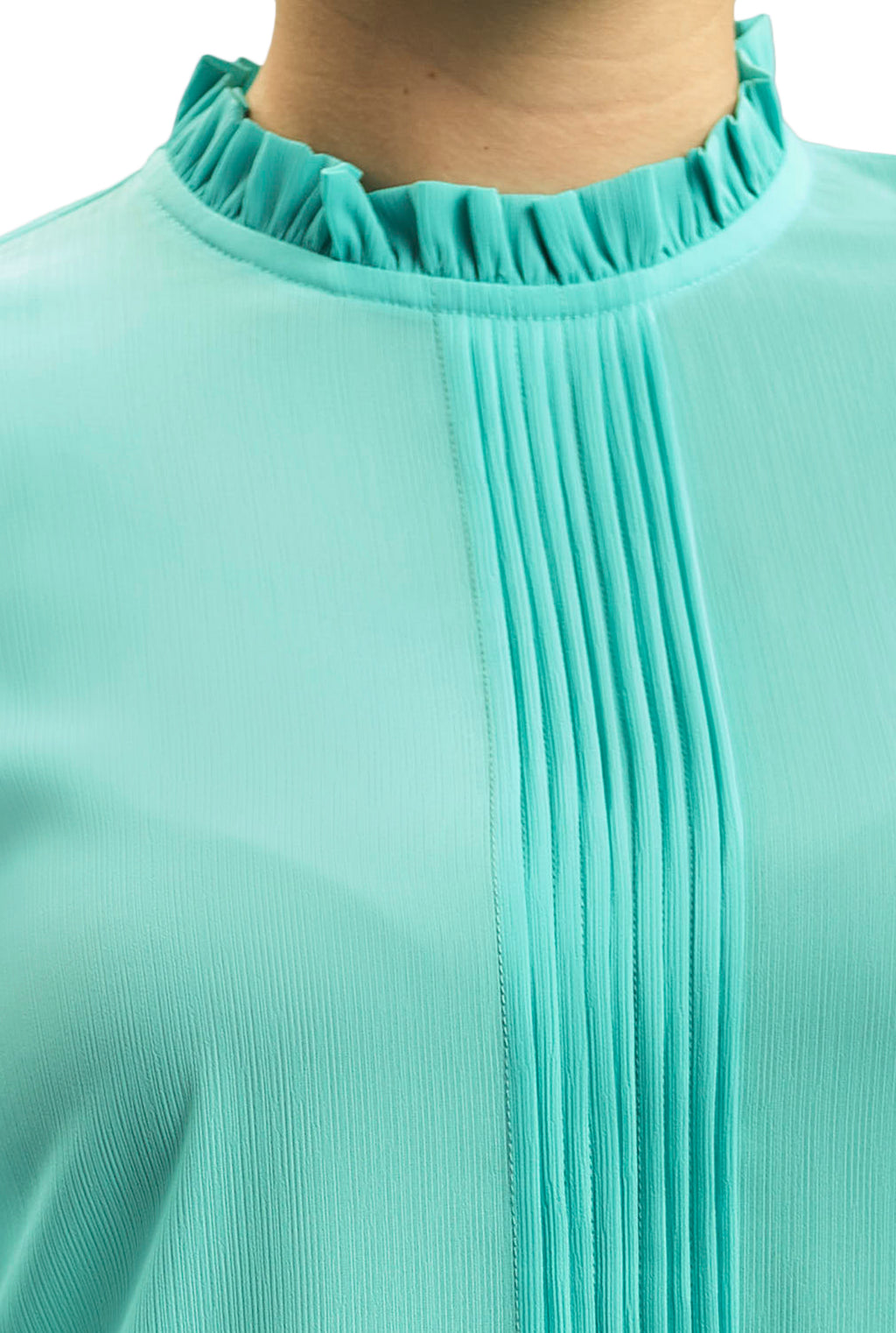 BASIC CRINKLED CREPE CHIFFON BLOUSE WITH AN ELIZABETH BOW COLLAR AND PLEATS FRONT DETAIL