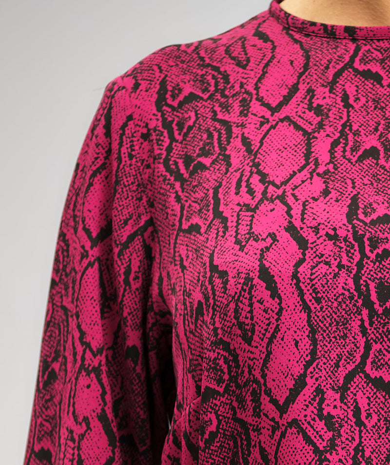 PRINTED CREPE CHIFFON BLOUSE IN FUSCIA AND BLACK PYTHON ANIMAL PRINT