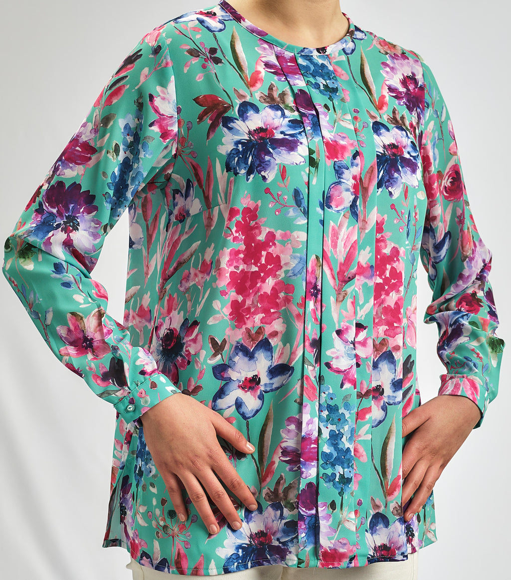 ANGEL BLUE SILKY CREPE CHIFFON BLOUSE IN A ROMANTIC FLORAL PRINT