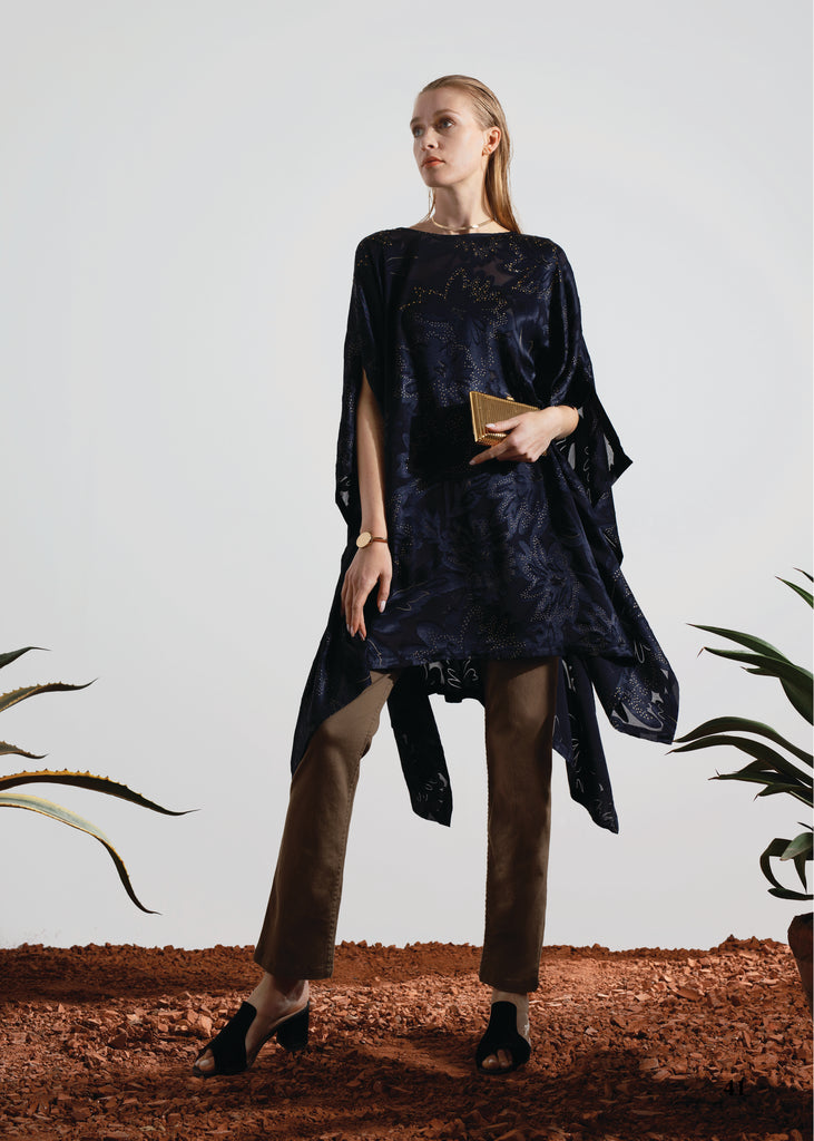 LIMITED EDITION: ONE SIZE LUXURY PONCHO WITH A VERY UNIQUE DARK NAVY SATIN AND CHIFFON FLORAL PATTERN COMPLETES IN SMALL GOLD CRYSTAL STONES
