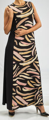 MODAL DRESS IN AN ABSTRACT ROSE ANIMAL PRINT