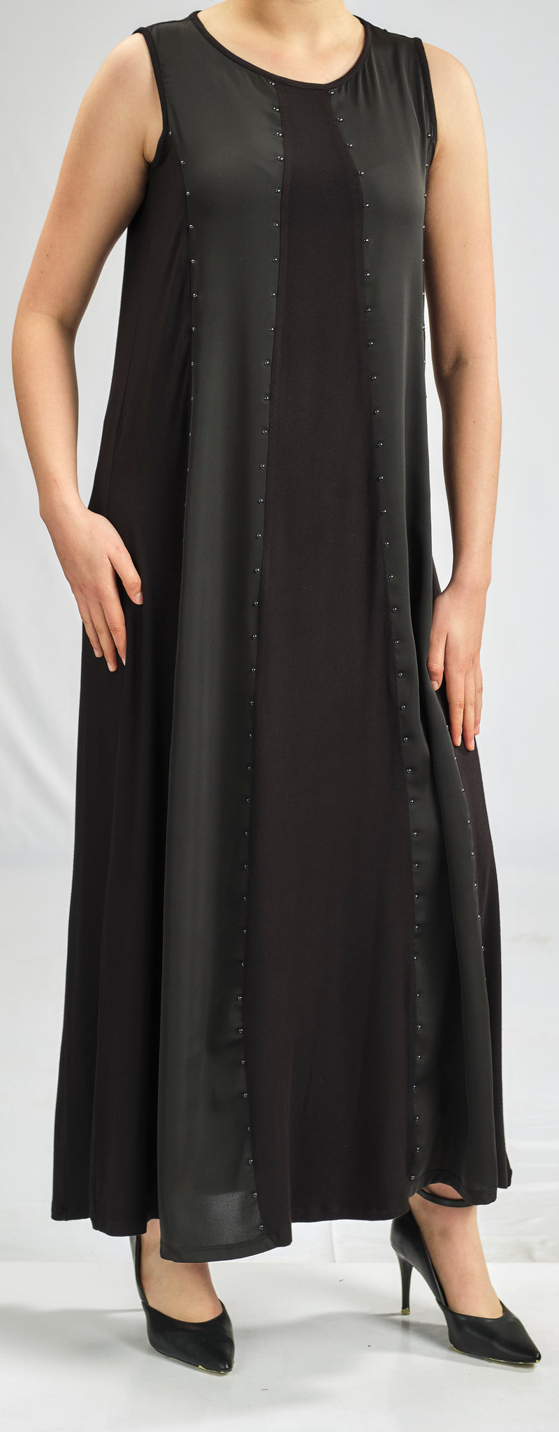 MODAL DRESS WITH A FLOWY LAYER OF SOFT AND SILKY CHIFFON