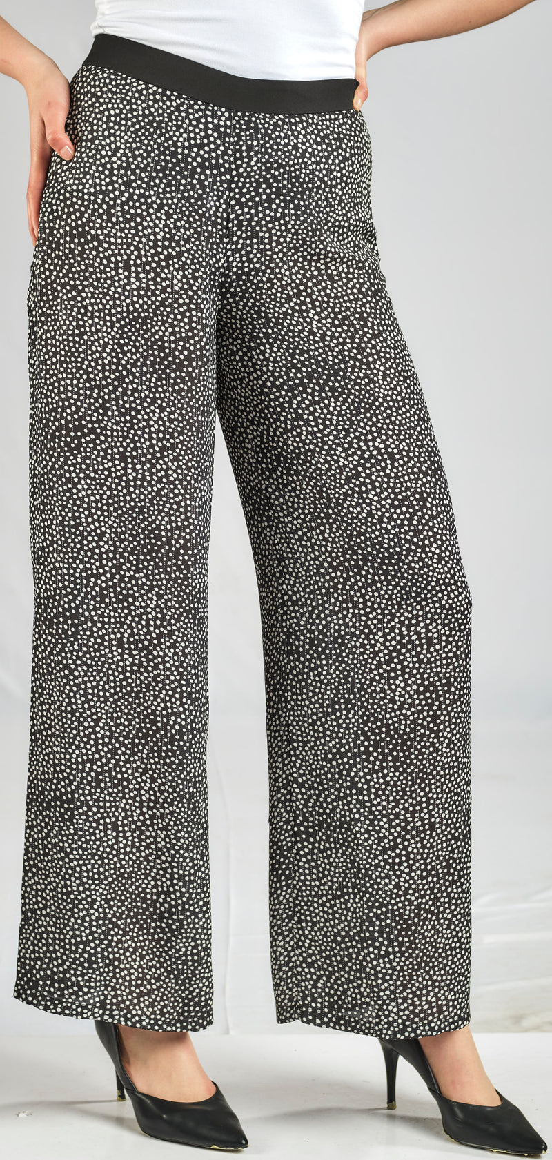 PRINTED POLKA DOT CREPE CHIFFON PANTS WITH ELASTIC WAIST FOR EXTRA COMFORT
