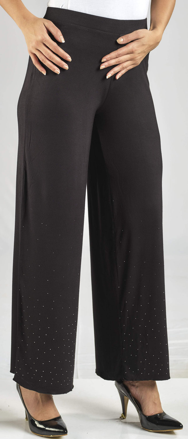 100% NATURAL MODAL PANTS WITH SMALL TONE TO TONE CRYSTAL EMBELLISHMENT AND AN ELASTIC WAIST FOR EXTRA COMFORT
