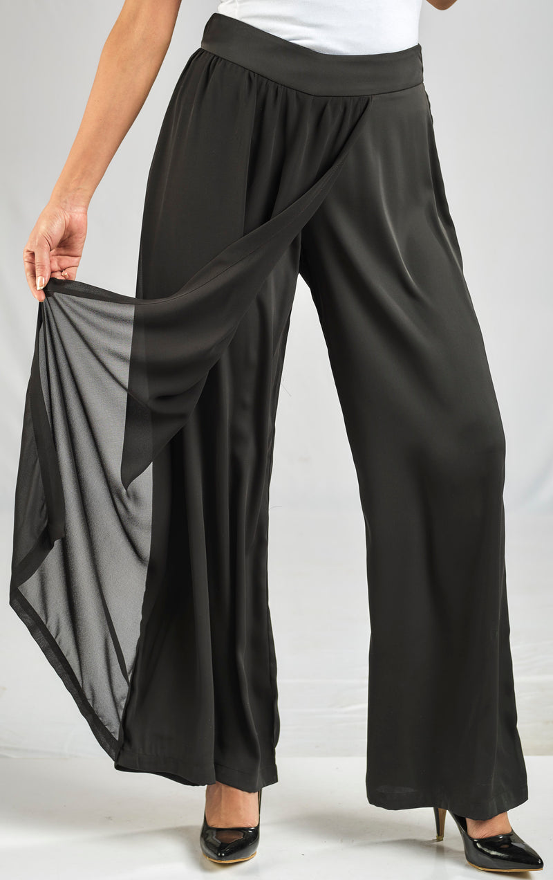 SHINY CREPE PANTS WITH A FLOWY LAYER OF SOFT AND SILKY CHIFFON WITH ELASTIC WAIST FOR EXTRA COMFORT