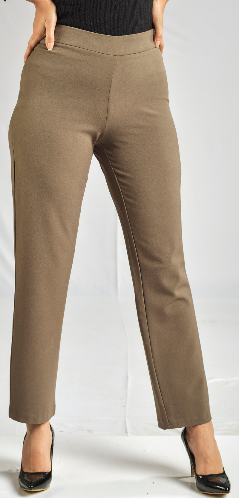 OLIVE GREEN TAILLURE PANTS WITH ELASTIC WAIST FOR EXTRA COMFORT