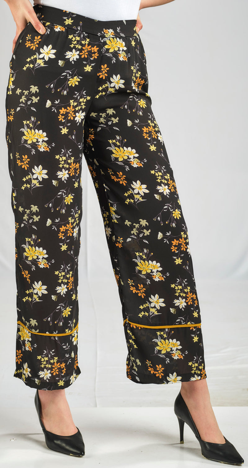SILKY CREPE CHIFFON PANTS IN A SPRING BLOOM FLORAL PRINT AND AN ELASTIC WAIST FOR EXTRA COMFORT