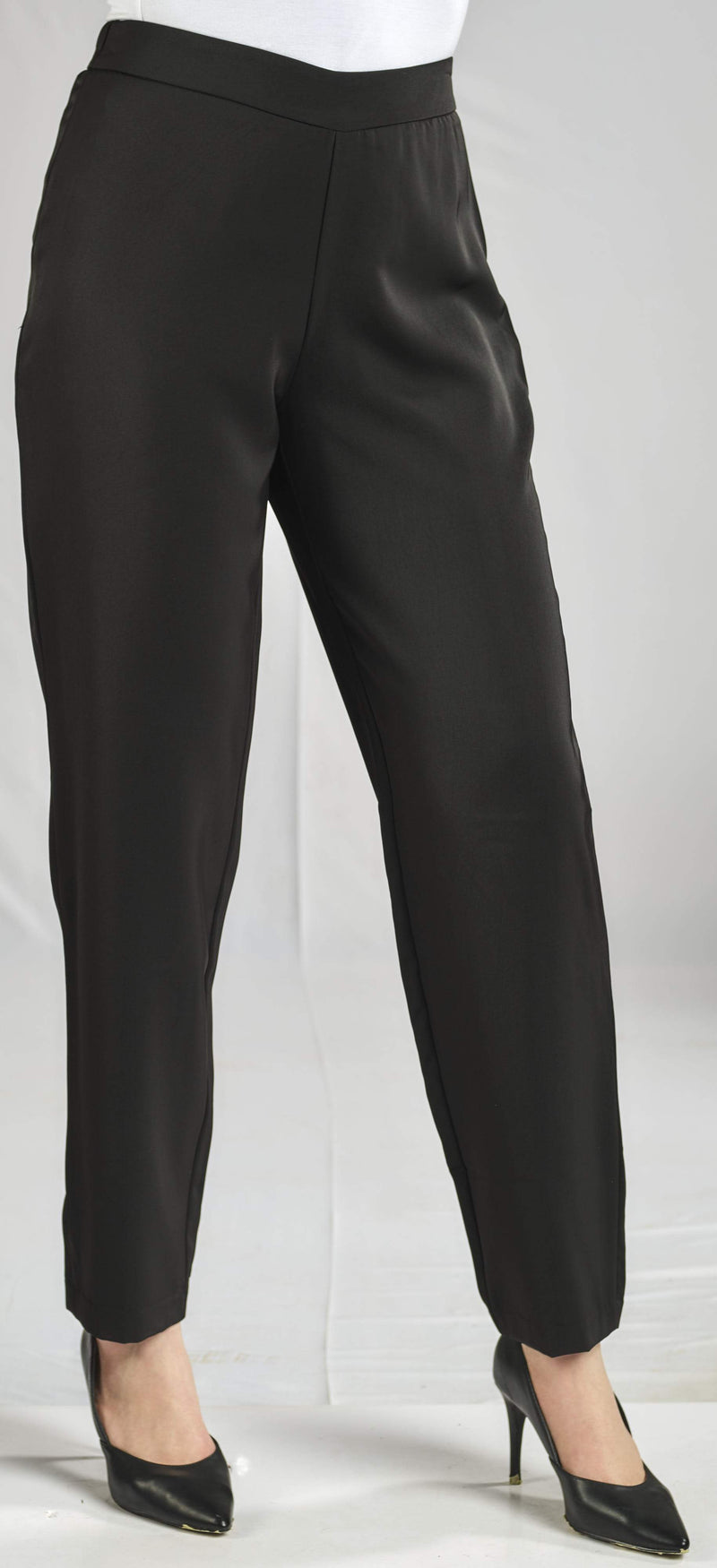 BASIC SILKY CREPE PANTS WITH ELASTIC WAIST FOR EXTRA COMFORT