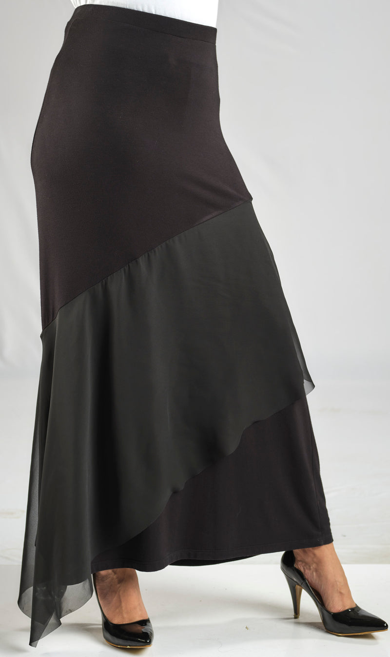 MODAL SKIRT WITH A RUFFLED FLOWY LAYER OF SOFT AND SILKY CHIFFON WITH AN ELASTIC WAIST FOR EXTRA COMFORT