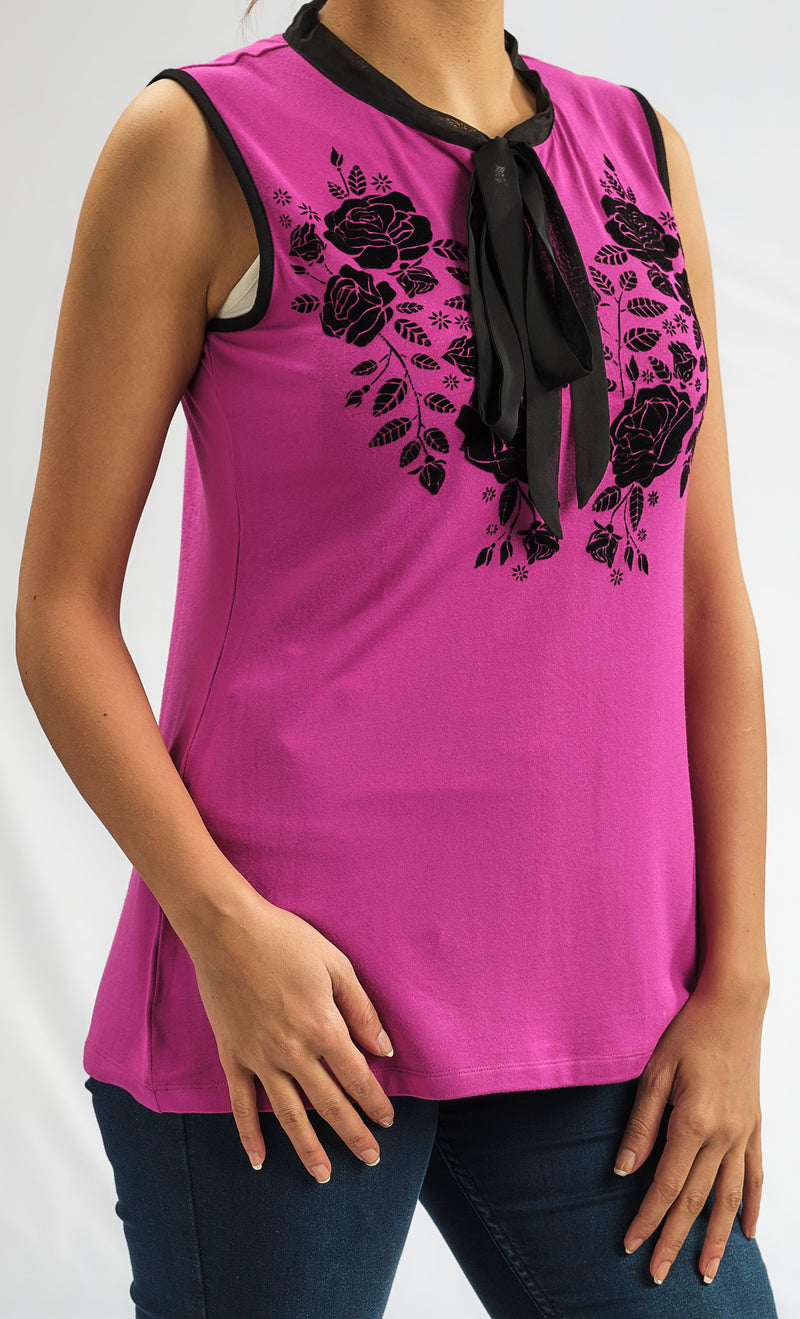 MODAL FUSCIA TOP WITH SILKY CHIFFON BOW TIE AND A FLORAL EMBROIDERY