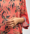 EASY FIT KIMONO SHAPED KNITWEAR AJOUR BLOUSE WITH A BEAUTIFUL TROPICAL PRINT