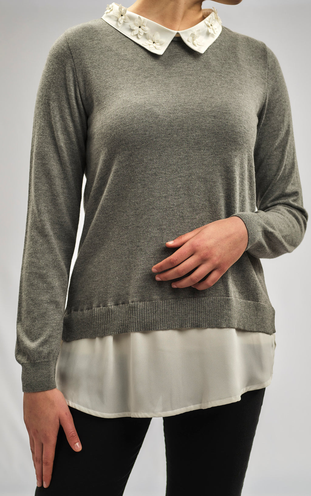 2 in 1 - CASHMERE FEEL COTTON KNITWEAR BLOUSE AND CRYSTALS STONES WITH SILKY CREPE CHIFFON COLLAR AND CUFFS
