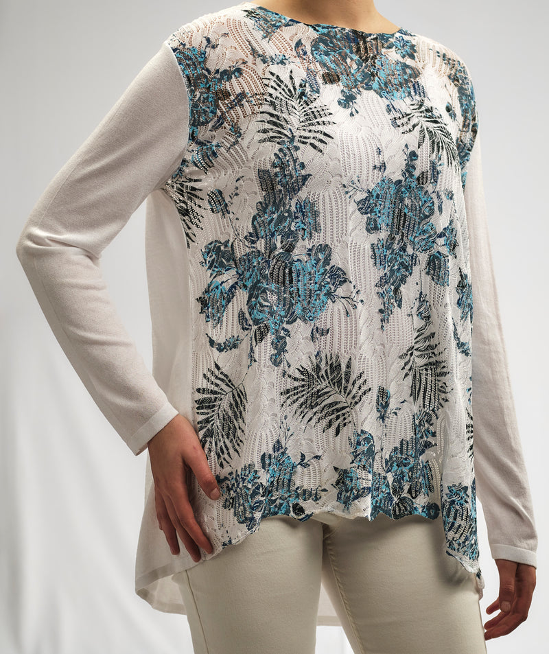 CASHMERE FEEL KNITWEAR AJOUR BLOUSE WITH A TURQUOISE TROPICAL PRINT