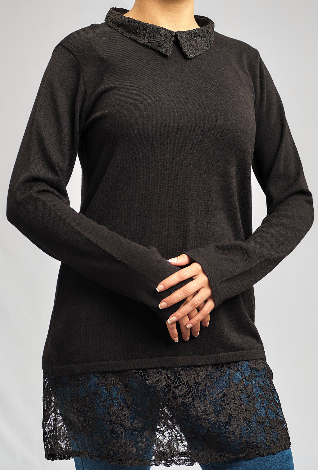 2 in 1 - CASHMERE FEEL COTTON KNITWEAR BLOUSE WITH A LUXURIOUS LACE COLLAR AND CUFFS
