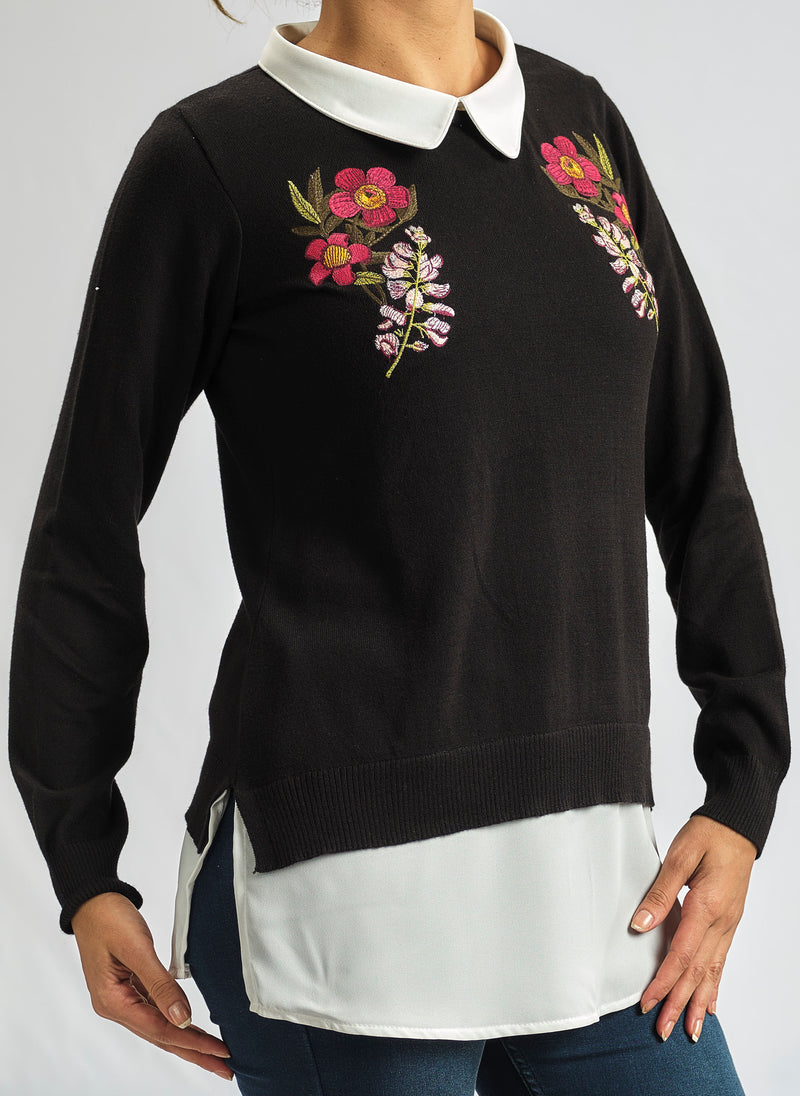 2 in 1 - KNITWEAR RED AND ANGEL ROSE FLORAL EMBROIDERY MADE FROM CASHMERE FEEL COTTON WITH SILKY CHIFFON COLLAR AND CUFFS