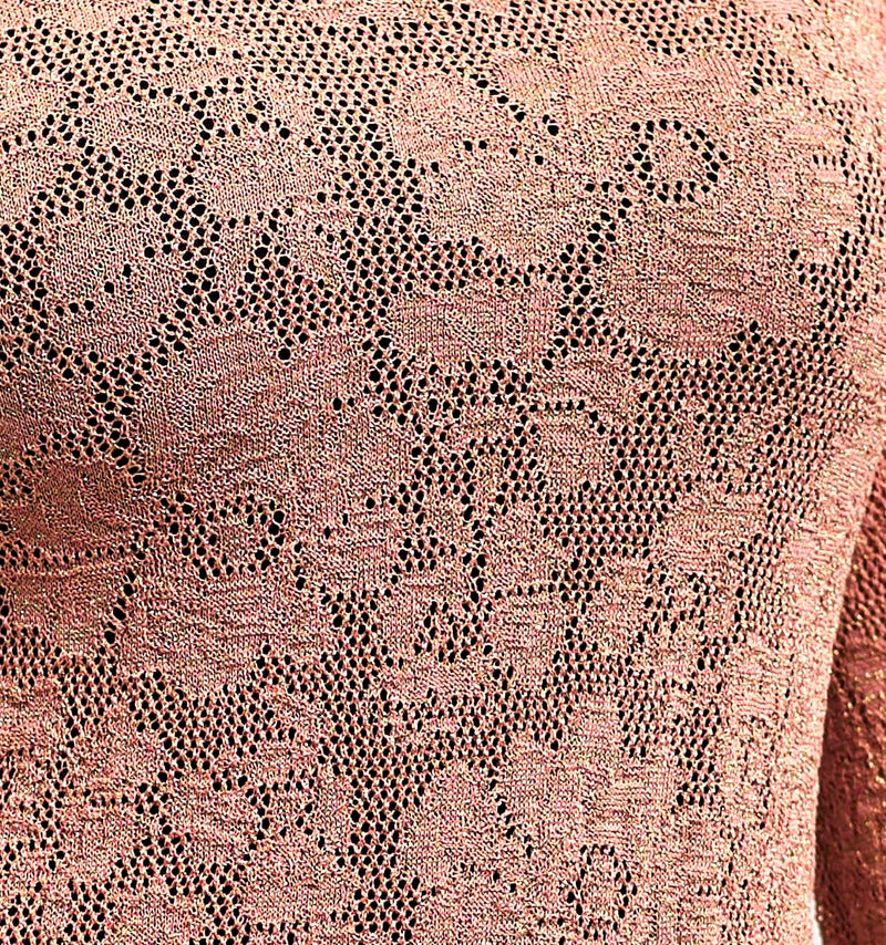 ANTIQUE ROSE CASHMERE FEEL AJOUR BLOUSE IN BEAUTIFUL KNITWEAR PATTERN