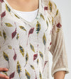 EASY FIT KIMONO SHAPED KNITWEAR AJOUR BLOUSE WITH A FALLING DEEP GREEN AND BURGUNDY LEAVES PRINT