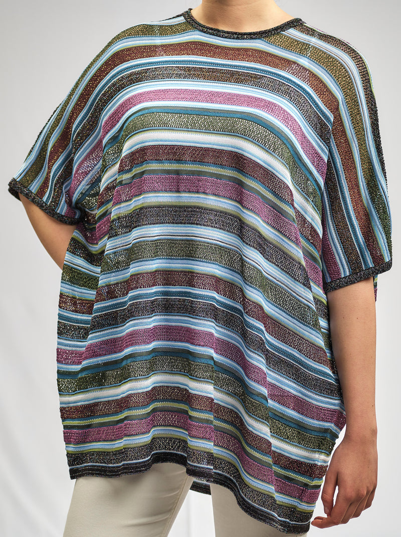 EASY FIT KIMONO SHAPED STRIPPED AND AJOUR KNITWEAR  BLOUSE WITH LUXURIOUS AND SHINY TONE TO TONE LUREX YARN