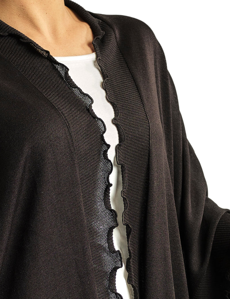 LIMITED EDITION: ONE SIZE BASIC PONCHO WITH SILKY CHIFFON BACK AND KNITTED WAVY FRINGES AROUND THE SIDES