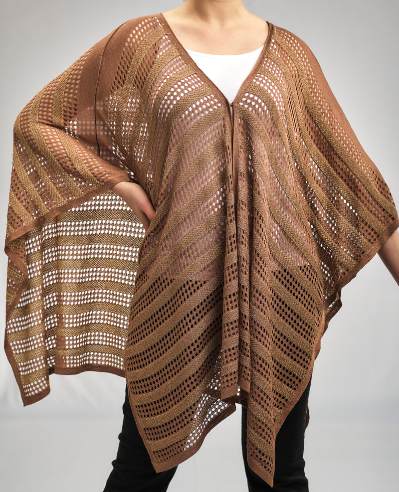 ONE SIZE BASIC AJOUR CAFE PONCHO IN A GORGEOUS KNITWEAR PATTERN