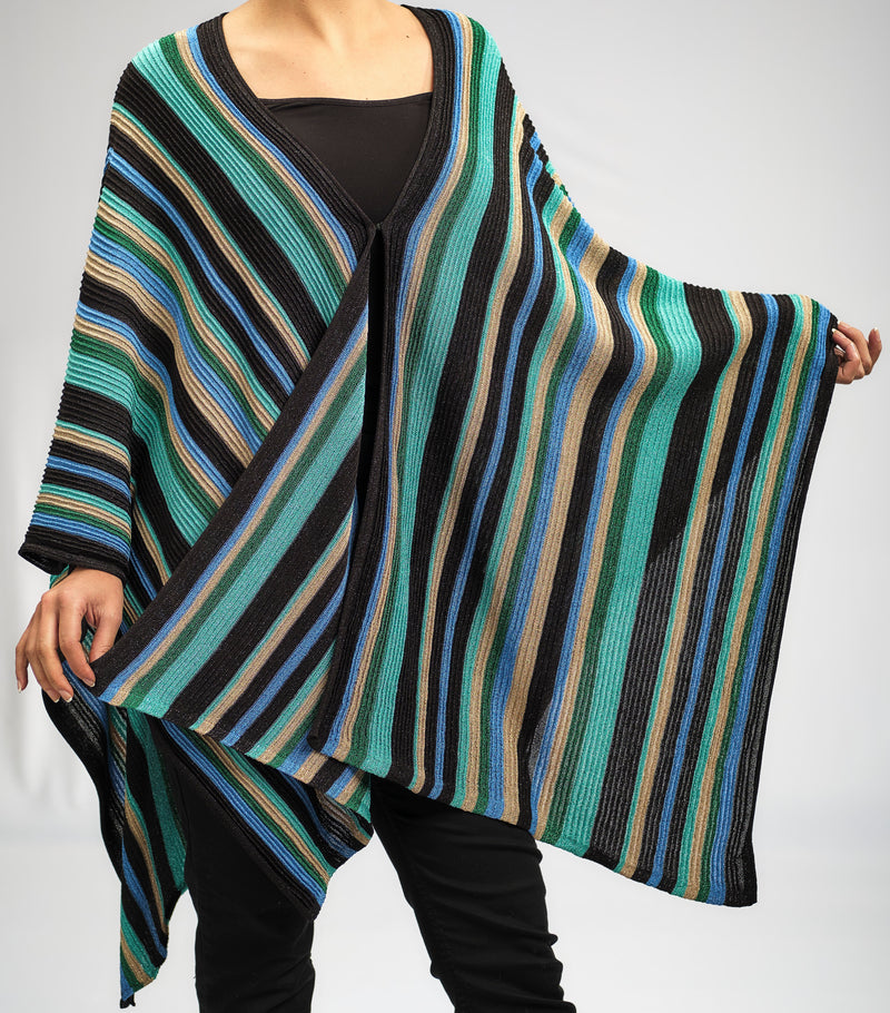 FREE SIZE AQUA BLUE AND ROYAL EMERALD  STRIPPED PONCHO KNITTED IN A BEAUTIFUL PATTERN